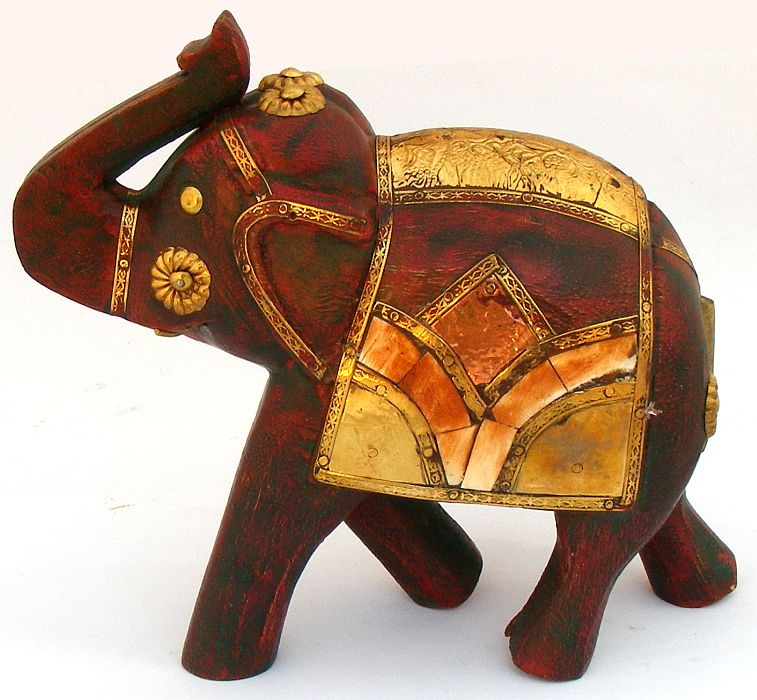 Large Antique Effect Wooden Elephant Statue
